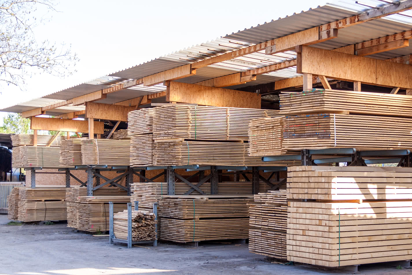 Wooden panels stored for seasonal business peak season