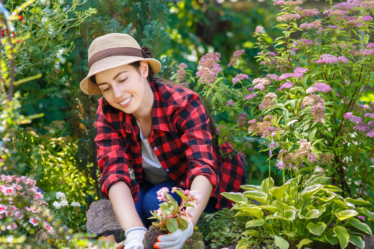 A young woman gardens and wonders how to turn your hobby into a business