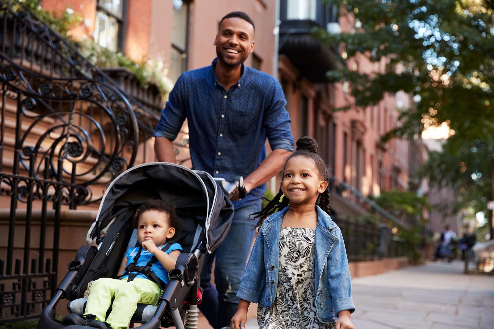 Father prioritizing work-life balance