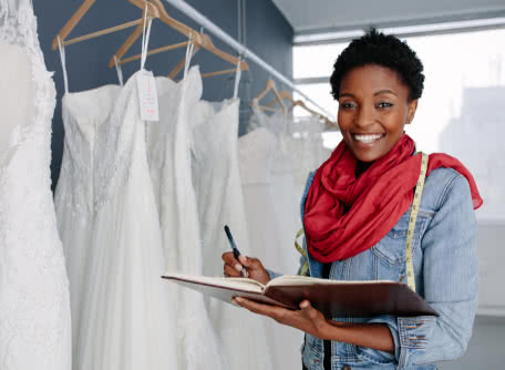 certified minority business owner stocks bridal shop